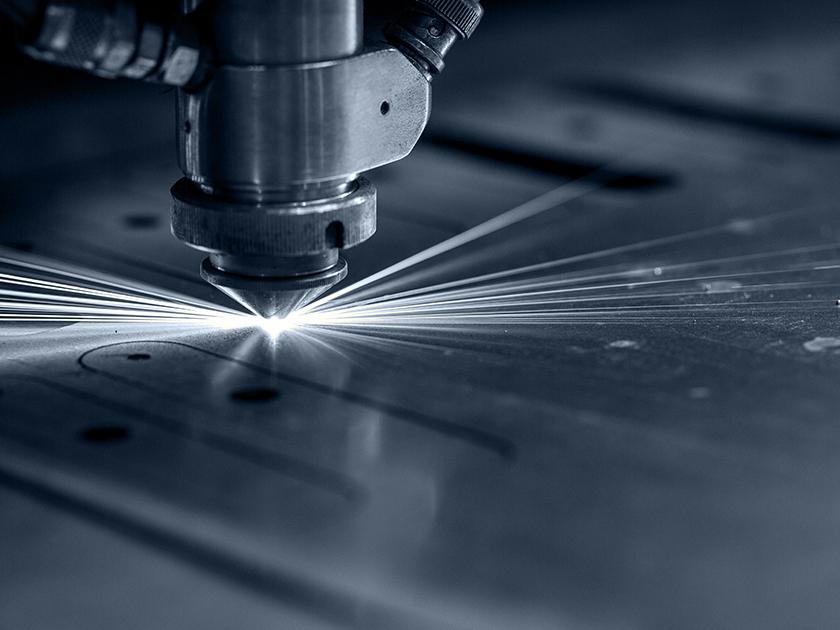 Media block laser cutter